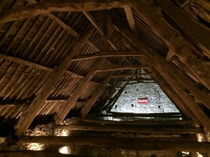 view of the original 15th century beams from the mezzanine
